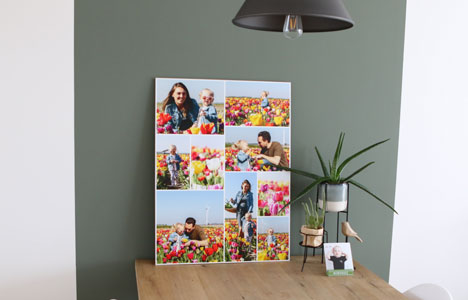 colourful photo collage with family photos