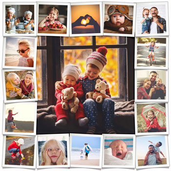 Playful grid with large photo